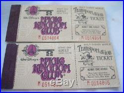 2 SEQUENTIAL 1970's Rare Vintage Walt Disney World Tickets Complete Verified