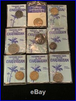 70s Vintage Walt Disney Productions Treasure Coins Of The Caribbean Lot Of 9