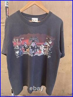 90s Vintage Disney World Villains Cruella de Vil Scar Chernabog T-Shirt L 22x27