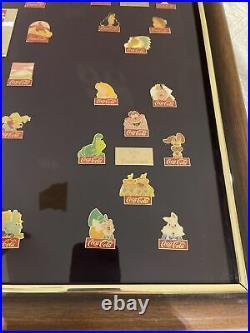 Coca-Cola Salutes Walt Disney World Happy 15th Birthday 60 Pin Framed Set 1986