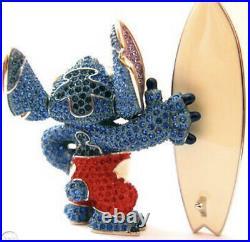 Disney Arribas Brothers Stitch with Surfboard Figurine With Swarovski Crystal