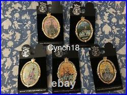 Disney Castle Window Mosaic Gold Frame Pin 2005 Set of 5 HTF Rare