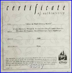 Disney Cel Alice in Walt Disney World 2009 signed card and pin COA