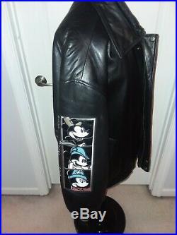 Disney Leather Jacket Walt Disney World Mickey Through The Years Vintage 3XL