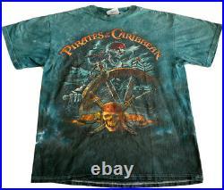 Disney VINTAGE GRAIL Pirates Of The Caribbean Skeleton Tie Dye T-Shirt Sz Large