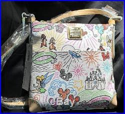 Dooney & Bourke Walt Disney World White Sketch Crossbody Letter Carrier NEW