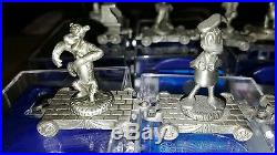 Hudson Disney Pewter Train Set Walt Disney World 8 Pcs with Engine & Caboose NIB