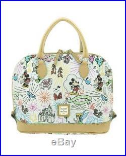 NEW Dooney & Bourke Walt Disney World White Sketch Zip Zip Shoulder Satchel