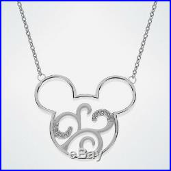 New In Box Walt Disney World Rebecca Hook Mickey Mouse Silver Scroll Necklace