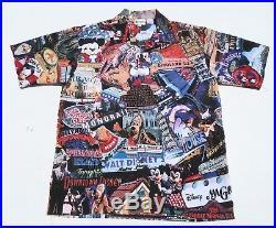 448f84c8 RARE Mens DISNEY WORLD S/S Button Hawaiian Shirt Medium Mickey Mouse Walt  MINT