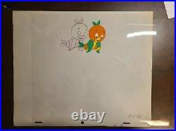 RARE Original Walt Disney World Orange Bird Animation Cel & Pencil Drawing WDW