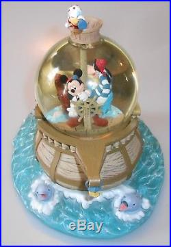 RARE Walt Disney World Pirate Mickey Mouse Snow Globe, Donald Duck, Goofy, Yo Ho