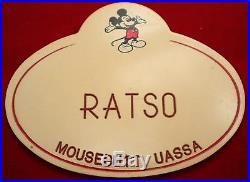 Rare Vintage Ratso Walt Disney World Nametag Cast Member Name Tag Mickey Mouse