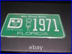 Rare Vintage Walt Disney World Green license Plate Opening October 1971