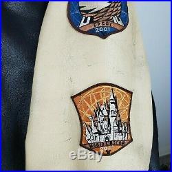 Rare WALT DISNEY WORLD 2001 Size XL Mens Leather Jacket Black Bomber Coat Mickey