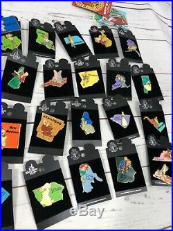 Retired Walt Disney World States Pin Set 2002 Lot Of 55 Pins RARE