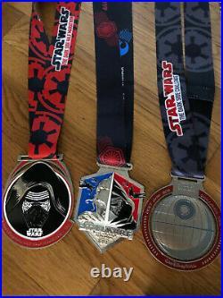 Run Disney Star Wars Race Medals Set of 7 Disney World Dark Side Rival Run
