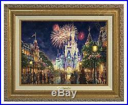 Thomas Kinkade Studios Disney Main Street USA 12x16 Canvas Classic (Gold Frame)
