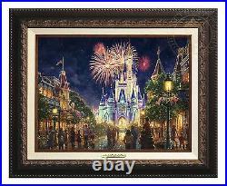 Thomas Kinkade Studios Disney Main Street USA 12x16 Classic (Aged Bronze Frame)