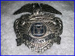 Two Vintage Walt Disney World Security Officer Hat Badge Engraved Sun Badge Co