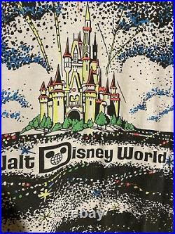 VTG 80s 90s Walt Disney World Fireworks Black Light All Over Print Shirt RARE