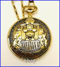 VTG Walt Disney World Railroad Mickey Mouse Conductor Pocket Watch With Horn Tune