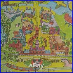 Vintage 1970's Walt Disney World Magic Kingdom Original Souvenir Map