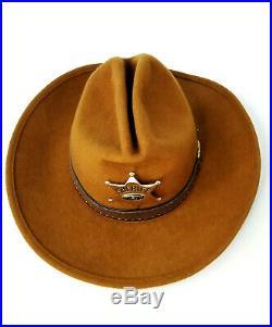 Vintage 1970s Walt Disney World Frontierland Wool Cowboy Hat w Sheriff Badge Pin