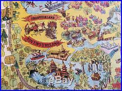 Vintage 1971 Original Walt Disney World Magic Kingdom Map 25 x 28