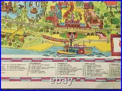 Vintage 1971 Walt Disney World Magic Kingdom Park Opening Year Souvenir Map RARE