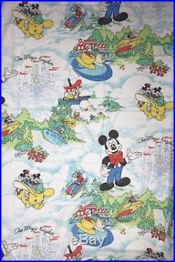 Vintage 1984 Walt Disney World Twin Flat Sheet Mickey Minnie Mouse Pacific