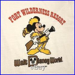 Vintage 80s Walt Disney World Fort Wilderness Resort Ringer Tee Vtg 1980s Shirt