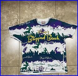 Vintage 90s Blizzard Beach Walt Disney World All Over Print T-Shirt OSFA