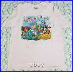 Vintage 90s Disney Walt Disney World Magic Kingdom T Shirt Pink Mickey Mouse XL
