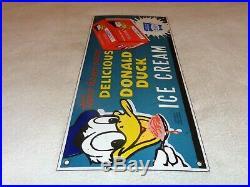 Vintage Donald Duck Ice Cream Walt Disney 20 Porcelain Metal World Gas Oil Sign