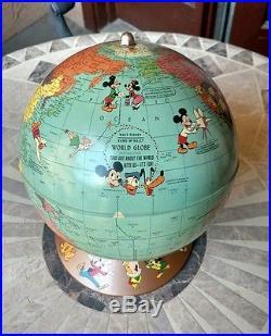 Vintage RARE 1950's Rand McNally Walt Disney World Globe Collector's Item