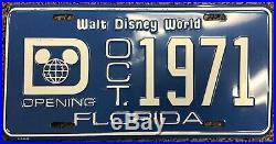 Vintage Walt Disney World Florida Opening License Plate 91C-0455 Oct. 1971