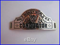 Vintage Walt Disney World Railroad Cast Member Conductor Hat Badge