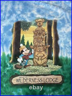 Vintage Walt Disney World Wilderness Lodge Tie Dye T Shirt Large Totem Mickey L