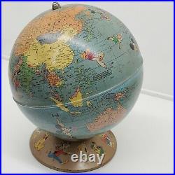 Vtg 1950 Rand McNally Walt Disney World Globe with Disney Characters RARE (t)
