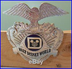 Vtg. 1980s Walt Disney World Police Officer Cast Uniform scewback pin Hat Badge