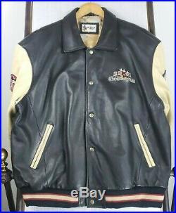 Vtg 2001 WALT DISNEY WORLD XL Mens Leather Jacket Pre 9/11 Black Bomber Coat