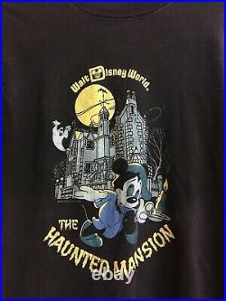 Vtg 80s Walt Disney World Theme Park Haunted Mansion Mickey Mouse Adult T-Shirt