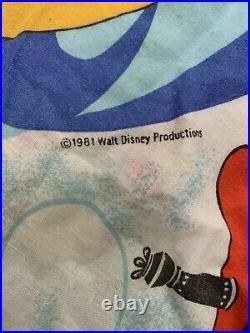 Vtg Walt Disney World The Magic Kingdom Bed Sheet Flat Fitted Fabric Set Mickey