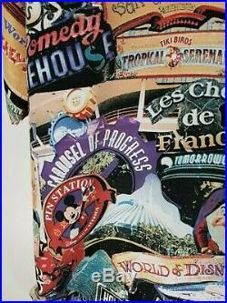 WALT DISNEY WORLD Button-Front Camp Shirt Attractions Vintage Mens 2XL XXL RARE