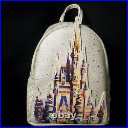 Walt Disney World 50th Anniversary Castle Loungefly Backpack, Ears, & Magic Band