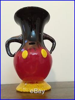 Walt Disney World Arribas Bros Hand Blown Glass Mickey Mouse Vase Signed, Rare