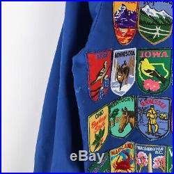 Walt Disney World Cast Member Blue Bomber Jacket Patches Vintage Medium M
