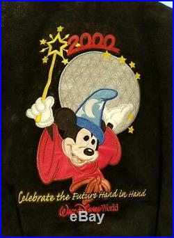 Walt Disney World Cast Member Millennium Jacket 2000 Lg Suede Black Gray Rare