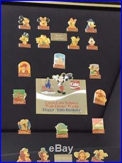 Walt Disney World Coca Cola Pin Set With Original Box 15th Year 1986 Vintage